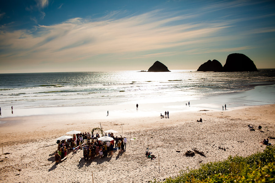 A photo of the Oregon coast wedding on the beach.