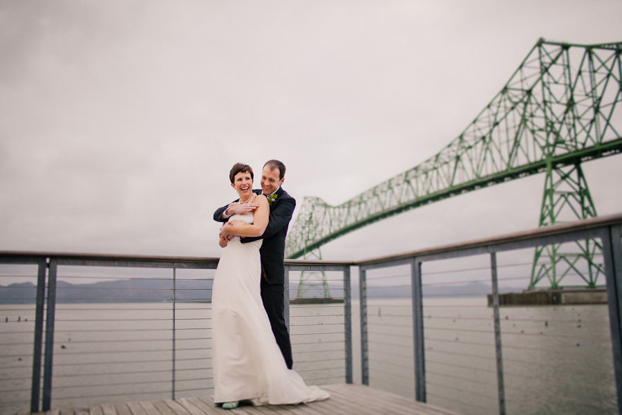 A fun wedding couple married at the Loft at the Red Building wedding Astoria, Oregon by artistic wedding photographers, Daniel Stark Photography. (16)