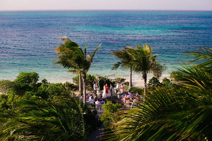 Ceremony photo of a beach wedding at Turks and Caicos Mothers House