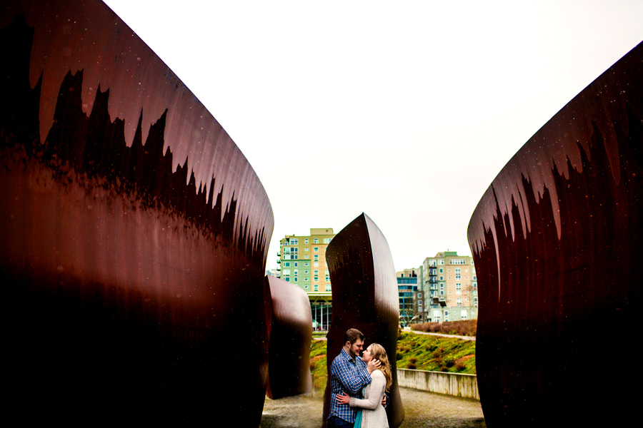 Engagement photos at Olympic Sculpture Park in Seattle by wedding photographers, Daniel and Lindsay Stark of Stark Photography. (1)