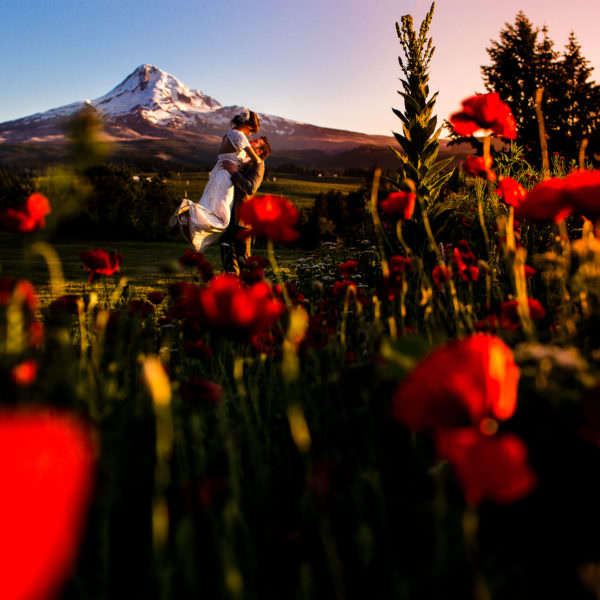An amazing sunset at MT. Hood Organic Farms in Hood River Oregon at this couple's wedding.