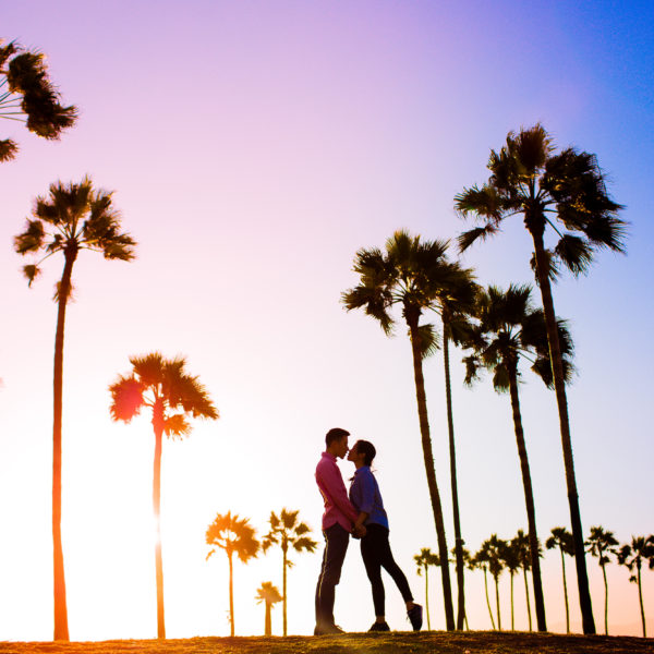 Amazing California sunset for a killer set of engagement photos in Venice, California.