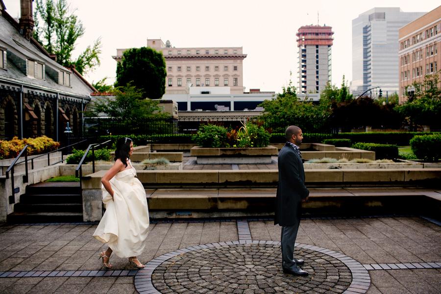 First Presbyterian church wedding and a wedding reception at Castaway in Portland. (1)
