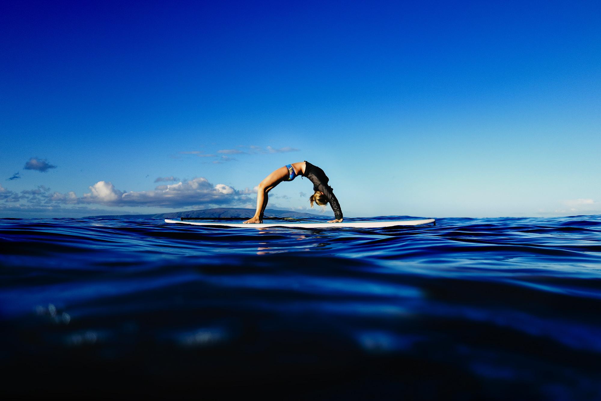 Four Seasons Resort Maui, Wailea, Hawaii. Stand Up Paddle Board Yoga branding portraits of Kathryn Budig by Stark Photography.