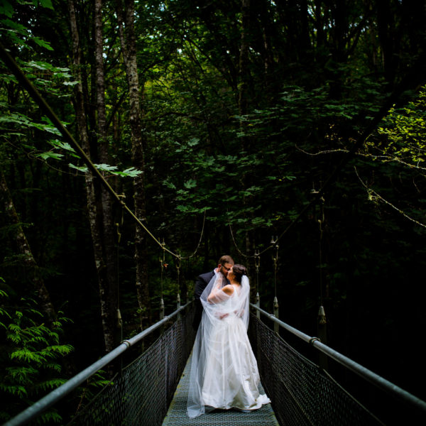 A wedding in Bambridge Island at the Islandwood Retreat in the forest of Washington by Stark Photography.