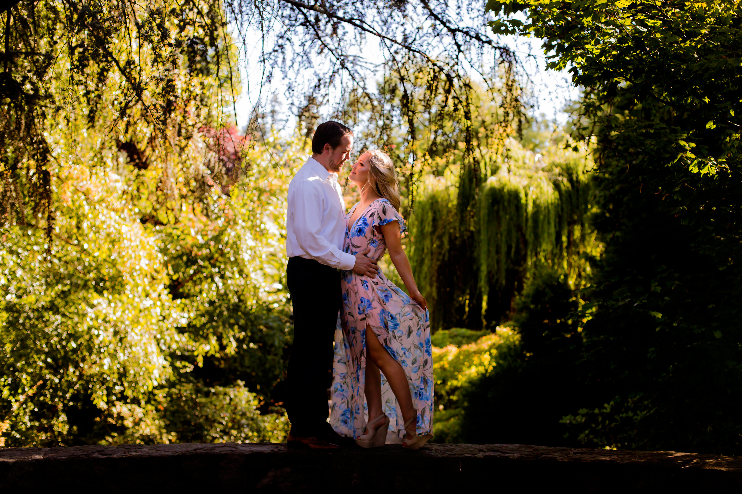 A beautiful engagement and colorful wedding photos at Crystal Springs Rhododendron Garden.