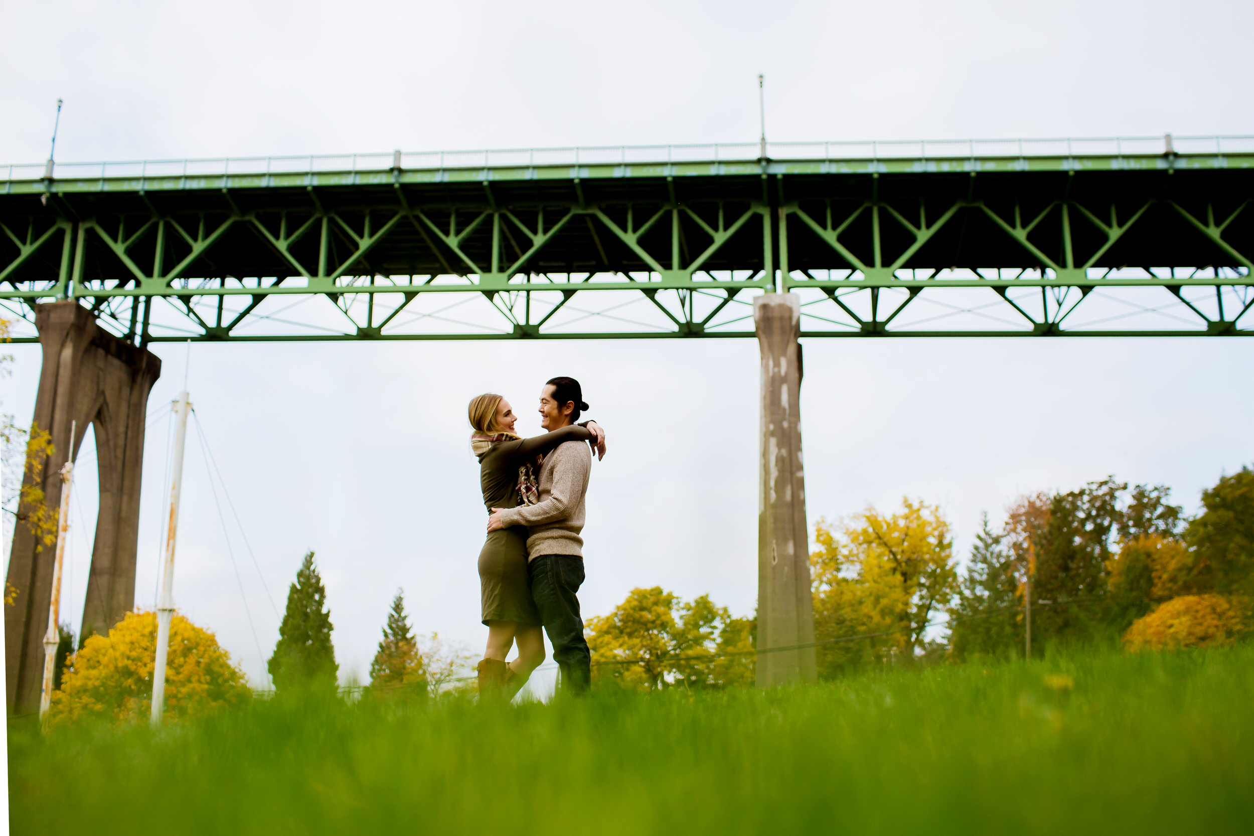 St. John's Bridge Cathedral Park Engagement Photos