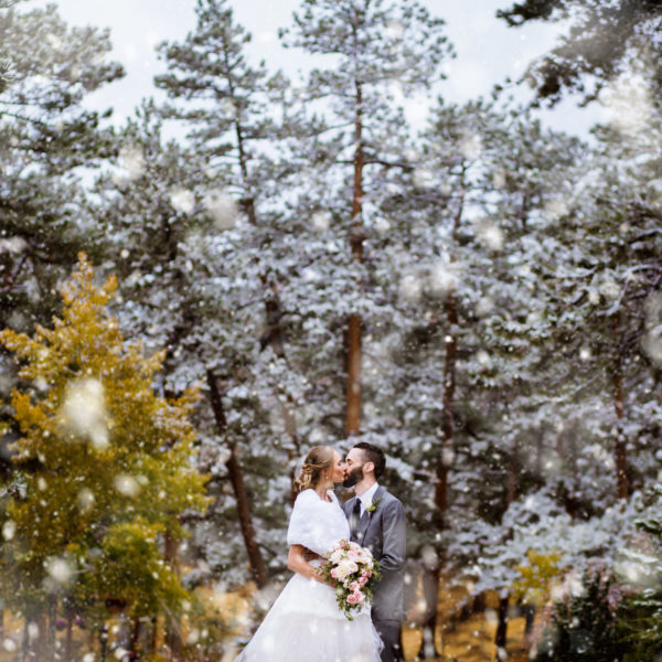 A romantic, snowy winter Estes Park wedding at Chapel on the Rock and Della Terra Mountain Chateau in Colorado, with photos by Stark Photography.